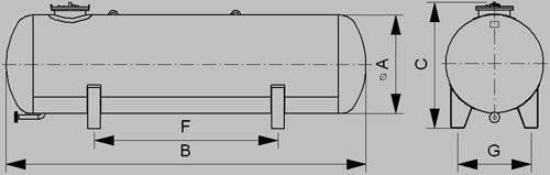 Nadzemne zásobníky pre odber kvapalnej fázy 1600mm - nákres