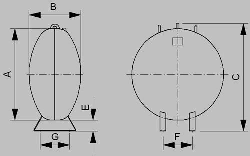 Nadzemný zásobník UFO - nákres
