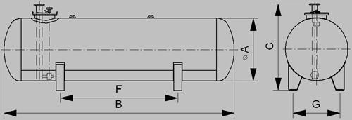 Nadzemný zásobník s redjacket úpravou 1600mm - nákres