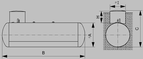 Podzemný zásobník pre odber plynnej fázy - nákres