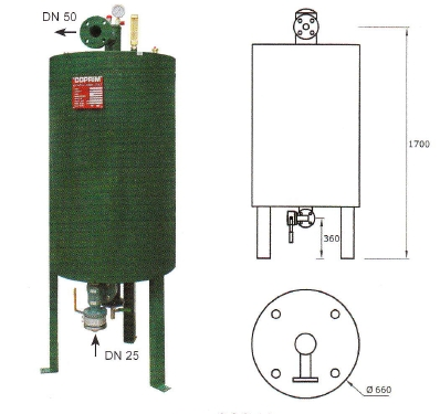 Výparník LPG teplovodný 750