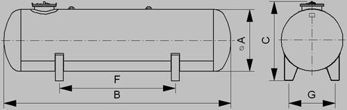 Zásobník pre odber plynnje fázy 1600mm - nákres