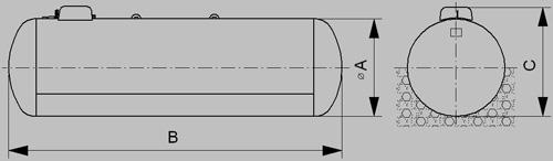 polopodzemný zásobník pre odber plynnej fázy - nákres